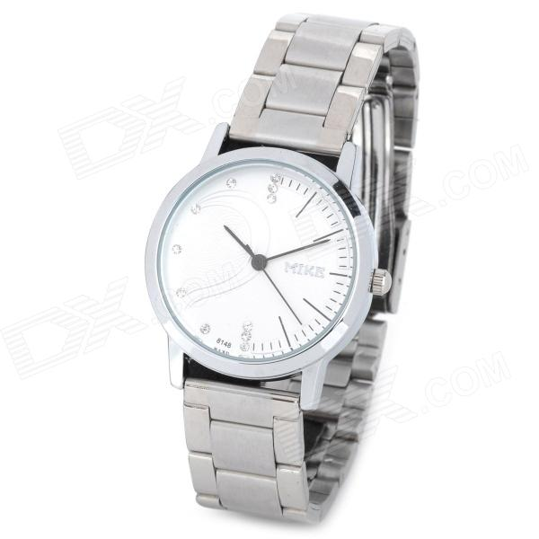 MIKE 8148 Fashion Women's Stainless Steel Quartz Analog Wrist Watch - White + Silver (1 x CR626) arabic numbers dial design women s fashion watch stainless steel ultra thin silver women quartz watches bgg brand horloge saat