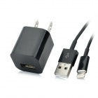 AC Powered Charger + USB 8-Pin Lightning Data / Charging Cable for iPhone 5 - Black (US Plug)