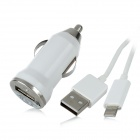 Car Charger + USB 8-Pin Lightning Data / Charging Cable for iPhone 5 / iPad Mini - White (3 Meters)