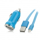 Lightning 8-Pin Male to USB Male Flat Data Cable + Car Charger Set for Iphone 5 / Ipad MINI - Blue