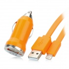 Car Charger + USB 8-Pin Lightning Data / Charging Flat Cable for iPhone 5 / iPad Mini - Orange