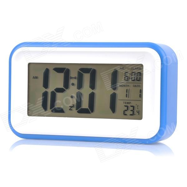 1017 4.6 LCD White Light Perpetual Calendar Alarm Clock w/ Backlight / Snooze - Blue (3 x AAA) novelty run around wake up n catch me digital alarm clock on wheels white 4 aaa