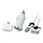 Car Charger + 30-Pin to 8-Pin Lightning Adapter + USB Data / Charging Cable for iPhone 4 / 5 - White