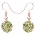 MaDouGongZhu R092-12 Cute Ball Alloy / Gold Plated / Rhinestone Earrings - Golden + Green (Pair)