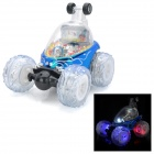 49MHz 5-CH R/C Remote Control Flip Stunt Car Toy with Colorful Light Effects - Blue (4 x AA)