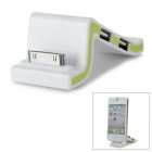 3-Port UBS 2.0 HUB + 30-Pin Connector Charging Dock w/ USB for iPhone - White + Green