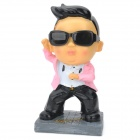 Kreative Gangnam Stil PSY Design-Kunstharz Coin Bank - Black + White + Pink