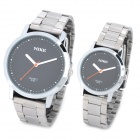MIKE 8153 Concise Style Couple Lovers Steel Alloy Quartz Analog Wrist Watch - Silver (1 x 377)