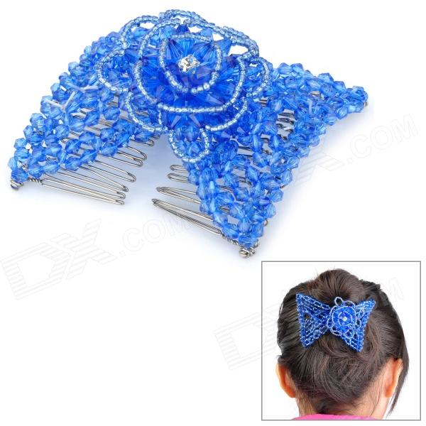 Fashion Cottonrose Hibiscus Style Stretchy Crystal Bead Double Hair Combs Clips - Blue sukirti upadhyay studies on hibiscus rosa sinensis for hair growth promotion