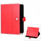 "Protective PU Leather Case w/ Holder for 9.7"" Tablets - Red"