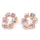 MaDouGongZhu R119-10 Flower Shaped Alloy / Gold Plated Earrings - Gold + Violet (Pair)