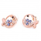 MaDouGongZhu R059-G Cute Fish Hollow-Out Alloy / Gold Ohrringe - Golden + Purple (Pair)