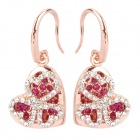 MaDouGongZhu R065 Heart Shaped Alloy / Gold Plated / Rhinestone Earrings - Golden + Silver (Pair)
