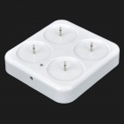 Rechargeable LED Electronic Candle Lights w/ Base Set - White (4PCS)