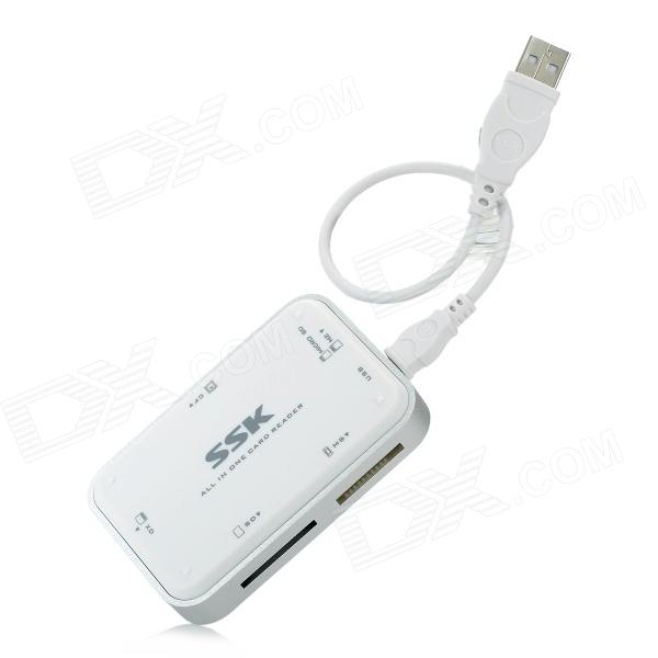 SSK SCRM054 High Speed SD / MS / XD / GF / Micro SD / M2 Card Reader - White ssk scrm056 usb 3 0 5gbps high speed multifunctional card reader white silver grey max 64gb