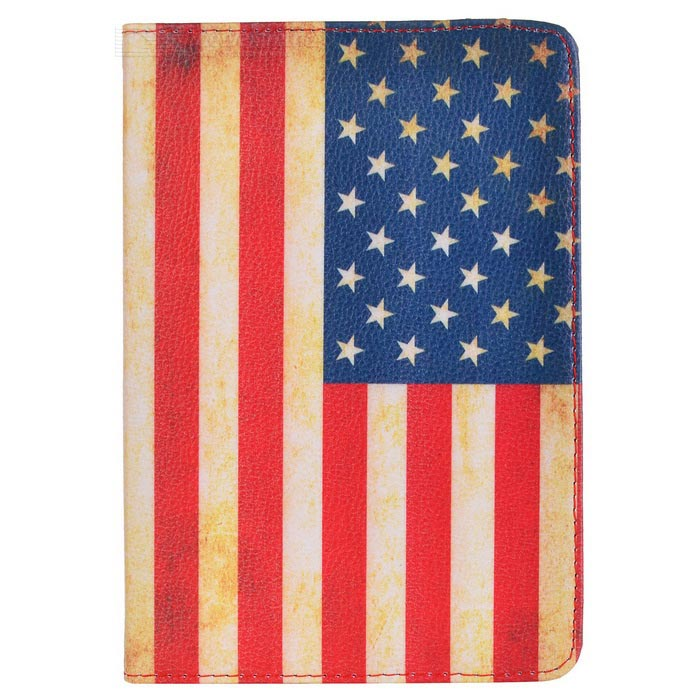 Protective PU American Flag Cover for Ipad MINI - MulticoloredIpad Cases<br>ModelsIphoneQuantity1MaterialPU LeatherForm  ColorRedOther FeaturesProtectPacking List<br>