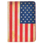 Protective PU Leather American Flag Cover for Ipad MINI - Red + Yellow + Deep Blue