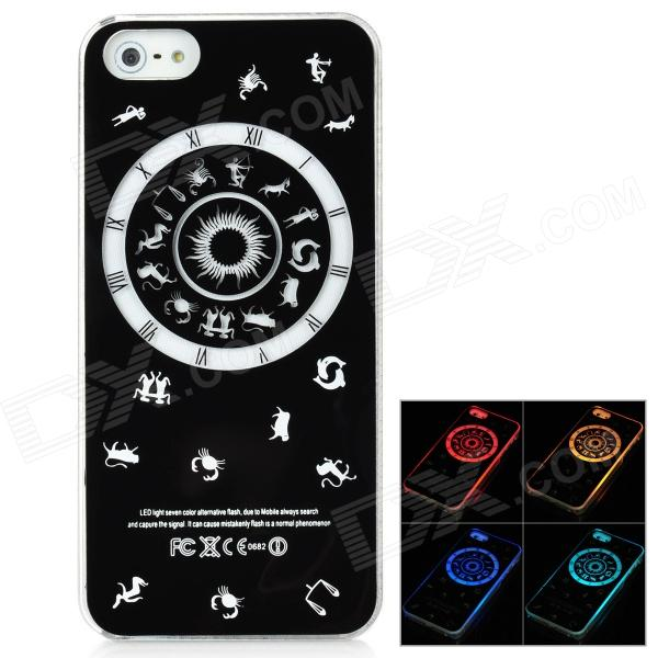 Constellation Pattern Multicolored LED Plastic Back Case for Iphone 5 - Black kinston flowers butterfly pattern pu plastic case w stand for iphone 6 plus multicolored