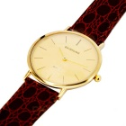 B080 Ultra-thin Men's Fashion PU Leather Band Quartz Analog Wrist Watch - Brown + Golden (1 x 377)