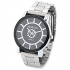 897S Fashion Rotating Gear Stainless Steel Band Quartz Wrist Watch - Black + Silver (1 x 377)
