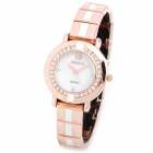Weiqin W4668 Women's Fashion Crystal Quartz Wrist Watch - Golden + White (1 x SR626SW)