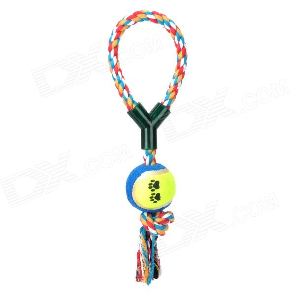 Pet Dog Puppy Chew Tug Teeth Cleaning Knot Toy Tennis Ball w/ Rope платье sk house sk house sk007ewatcw7