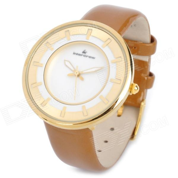 Intercrew IC10-802 Fashion-Lederband Wasserdicht Quarz-Armbanduhr - Golden (1 x SR626SW)