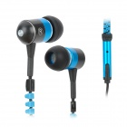 KingTime KT-11Bzip Noise-isolation Stylish In-Ear Earphones - Blue + Black (3.5mm Plug / 120cm)