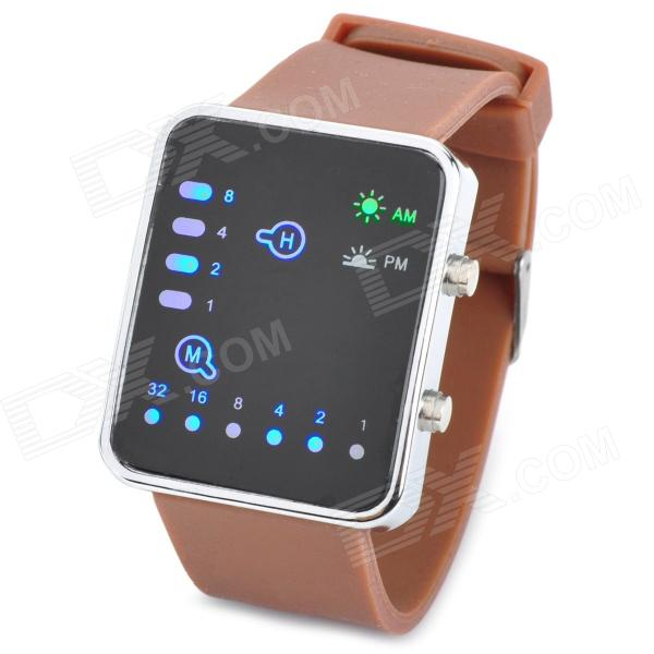 W110304 Fashion Digital Silicone Band LED Wrist Watch - Brown + Black (1 x CR2032) trendy fashion digital watches 3 pack