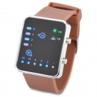 W110304 Fashion Digital Silicone Band LED Wrist Watch - Brown + Black (1 x CR2032)