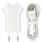 8-Pin Lightning Male to USB Male Data Charging Cable + EU Plug AC Power Adapter Set - White