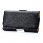 Lichee Pattern Protective PU Leather Case w/ Waist Clip for Samsung Galaxy S2 i9100 - Black