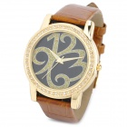 TIME100 980013 Fashion Lady's Genuine Leather Band Quartz Wrist Watch - Brown + Golden (1 x 377)