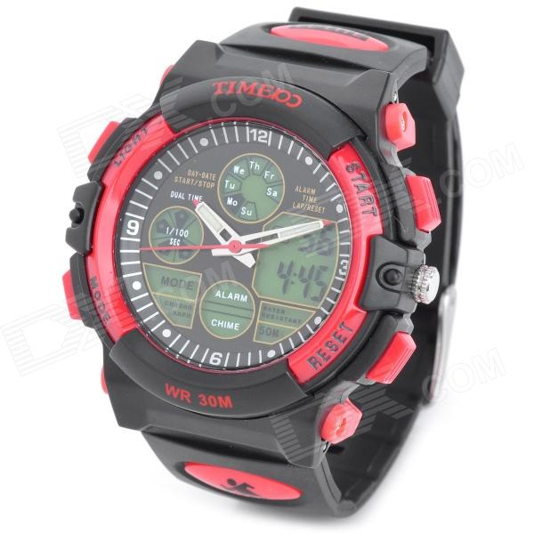 TIME100 S50017 Men's Sports Rubber Band Quartz Analog + Digital Wrist Watch - Red + Black (1 x 377) men s military style fabric band analog quartz wrist watch black 1 x 377