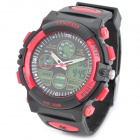 TIME100 S50017 Men's Sports Rubber Band Quartz Analog + Digital Wrist Watch - Red + Black (1 x 377)