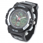 TIME100 S50017 Men's Sports Rubber Band Quartz Analog + Digital Wrist Watch - Black (1 x 377)