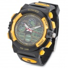TIME100 S50017 Men's Sports Rubber Band Quartz Analog + Digital Wrist Watch - Yellow (1 x 377)