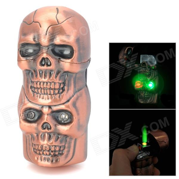 Dual-Skull Shaped Windproof Copper Alloy Butane Gas Green Flame Lighter w/ Light + Sound - Bronze creative camera shape windproof green flame butane gas lighter w colorful flashing light black