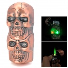 Dual-Skull Shaped Windproof Copper Alloy Butane Gas Green Flame Lighter w/ Light + Sound - Bronze