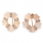 MaDouGongZhu R115 Elegant Love Heart Flower Design Ear Studs - Golden + Transparent Beige (Pair)