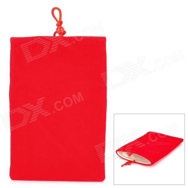 "Universal 5"" Double-Layer Flannel Bag Pouch for GPS / MP3 / MP4 / E-Book - Red"