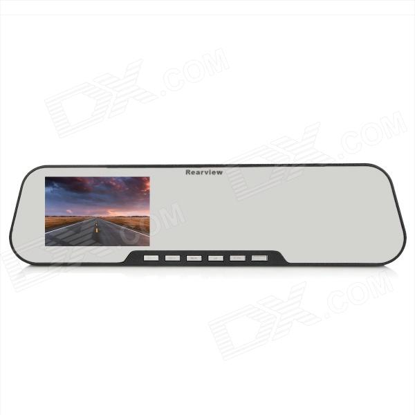 "2.6"" TFT HD 12MP Wide Angle Car Rearview Mirror DVR Camcorder w/ 4-IR LED / TF - Black"