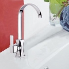 QENAiS 8128-A Nickel Plated + Chrome Plated Copper Single Handle Kitchen Faucet - Silver