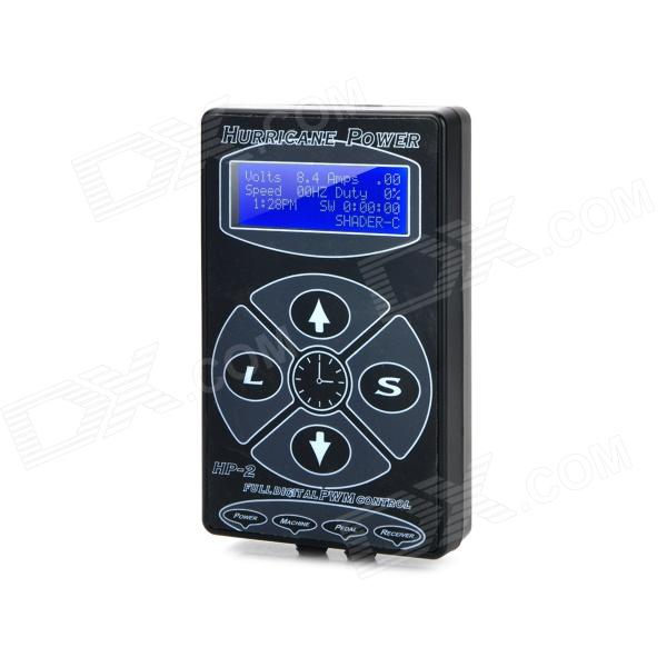 D50024 Professional 2.5 LCD Tattoo Machine Power Supply w/ Blue Backlight - Black (100~240V) solong tattoo professional power supply tattoo black tattoo digital lcd design stable dual machine foot switch pedal cast iron