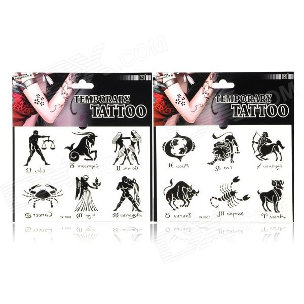 YM-K007/YM-K008 Fashion Twelve Constellations Pattern Tattoo Paper Sticker - Black