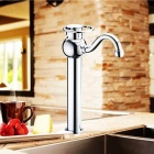 QENAiS 8229-A Nickel Plated + Chrome Plated Copper Single Handle Basin Faucet - Silver