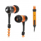 KingTime KT-11B Noise-isolation Stylish In-Ear Earphones - Orange + Black (3.5mm Plug / 120cm)
