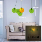 DIY Creative Round Shaped 25W Decorative Sticker Wall Light - Orange + Green (220V)