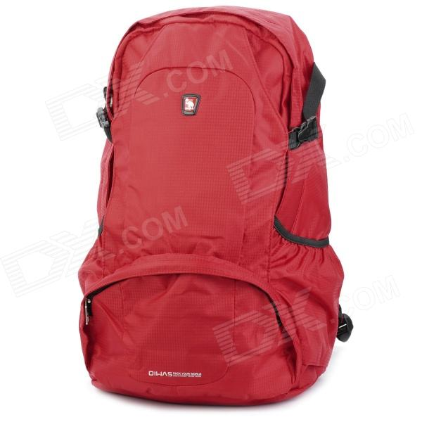 Oiwas 4071 Nylon Travel Double-Shoulder Backpack Bag - Red (25L)