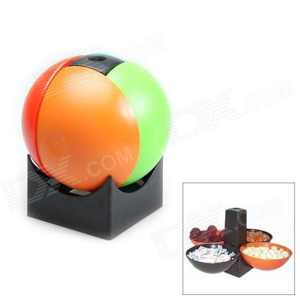 Cool Folding Snack Capsule Ball Four Bowl Snack Holder for Picnic / Camping - Multicolor